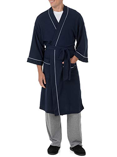 Fruit of the Loom Men's Waffle Kimono Robe, Navy, 2X/3X