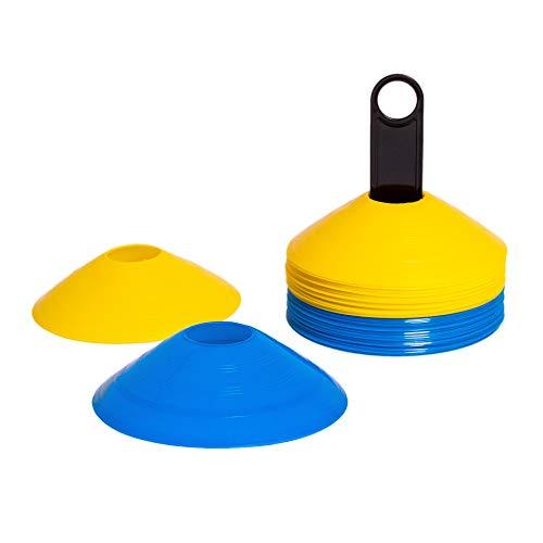 8LevelUp Trainingsdiscs 40er Set (20 gelbe und 20 Blaue Hütchen - flexibel, sicher und robust) für Fußball, Reitsport, Hundetraining, Pferdetraining, Agility Training für Hunde