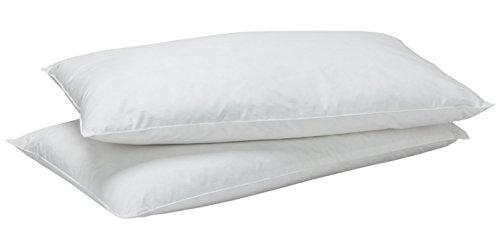 Pikolin Home - Pack de 2 almohadas de plumón 30%, funda 100% algodón, firmeza baja, 40x75cm, altura 12cm (Todas las medidas)