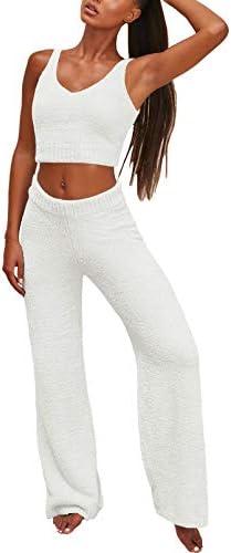 Linsery Lady Fuzzy Two Piece Sweatsuit Crop Tank Tops Wide Legs Pants Lounge Sets Winter Fleece product image
