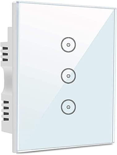 Interruptor wifi Interruptor de luz inteligente del interruptor de pantalla táctil blanca de cristal templado de 3 pandillas (necesita cable neutro) con Alexa y Google Hogar, control externo, función