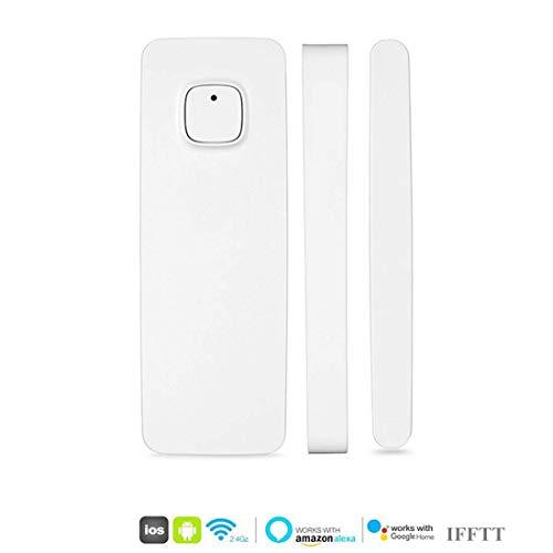 Intelligenter Fenstertürmagnet-Sensordetektor Kompatibel mit Alexa Google Home , die vom Telefon iPhone-Tablet für Einbruch-Alarmsystem gesteuert wird(mit Batterie)