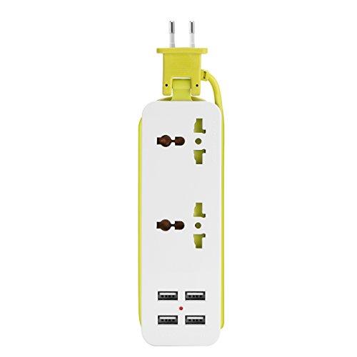 GASFW Enchufe de extensión 6 en 1, regleta de alimentación USB, Cargador de Pared 2 Salidas con 4 Puertos de regleta de alimentación USB, Adecuado para el hogar y la Oficina