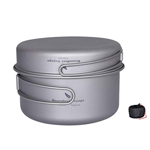 iBasingo 2 Piece-Set (1000ML+500ML) Titanium Bowl Pot Set with Folding Handle Outdoor Camping Picnic Pan Ultralight Cooking Tableware Picnic Dishes IB-Ti2042C
