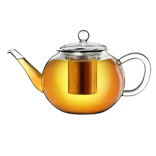 Creano Teekanne aus Glas 1,2l, 3-Teilige Glasteekanne mit Integriertem Edelstahl-Sieb und Glas-Deckel, Ideal zur Zubereitung von Losen Tees, tropffrei, All-in-One