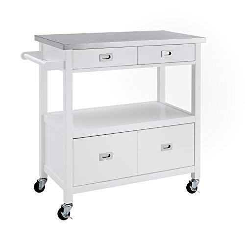 Linon Winston Küchenwagen, Weiß