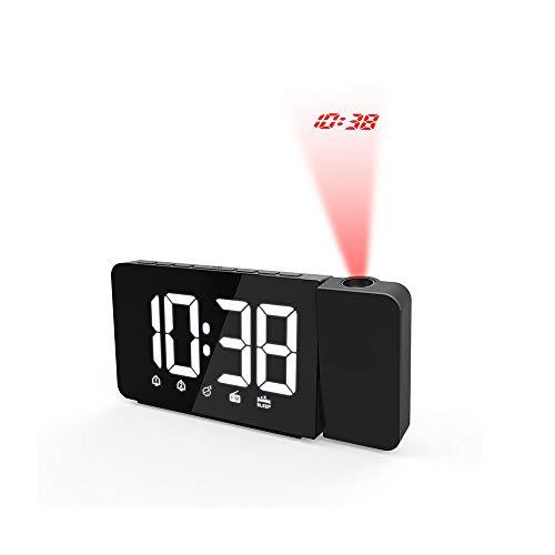 VBARV Projektoruhren, Radiowecker, Wecker, LED-Snooze-Timer Dual-USB-Wecker für große Schlafzimmer, Nachttisch, Nicht tickender Projektor, lauter Deckenwecker