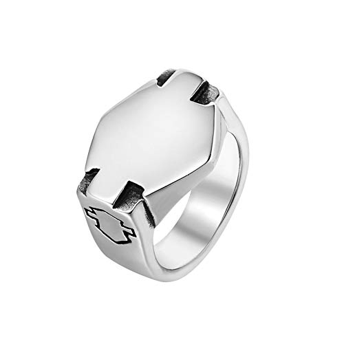 SonMo Ringe für Herren Männer Motor Ringe Herren Schmuck Edelstahl Ringe Herren Siegelring Verlobungsring Biker Ring Silber 70 (22.3)