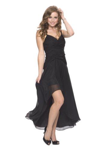 Astrapahl Damen Cocktail Kleid mit schönen Raffungen, Knielang, Einfarbig, Gr. 38, Schwarz