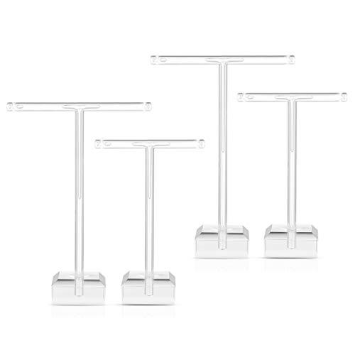 Cabilock Pendientes de Acrílico Topbathy Soporte 4 Piezas Pernos de Oreja en Forma de T Estante de Exhibición Organizador de Joyas Transparente