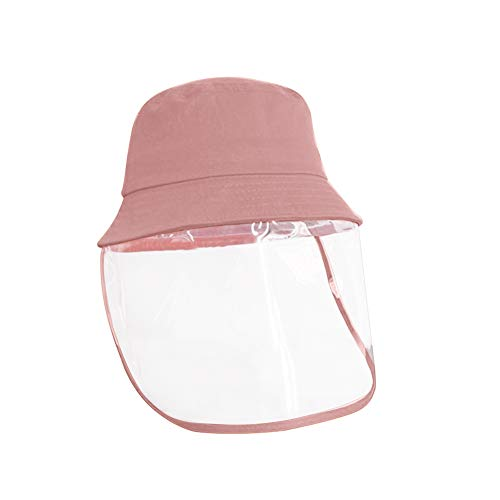 Domybest - Sombrero de protección antiarañazos, antivaho, Antipolvo, Sombrero con protección Facial, Sombrero con Visera de protección Transparente para niños, Rosa