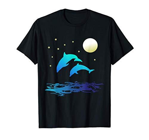 Delfine im Meer mit Mondlicht Damen Herren T-Shirt