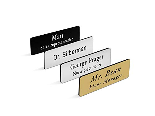 Custom Personalized Engraved Name Tag/Badge for Business, with Magnet or Pin, Sizes 1x3 or 1.5x3 (1x3)