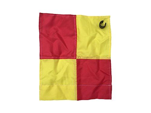 Bandierina per angolo del campo, con paletto da 25mm con clip, Yellow / Red Chequered