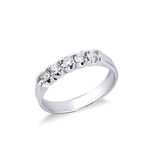 Gioielli di Valenza - Anello Veretta a 5 pietre in Oro bianco 18k con diamanti ct. 0,35 - FE5RA035BB - 22