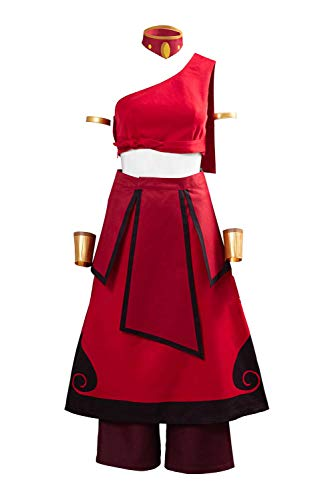 Katara Cosplay Costume Outfit Fire Nation The Last Airbender Halloween Dress Red