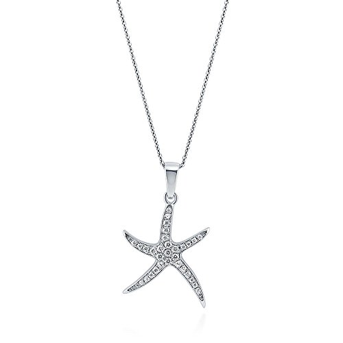 BERRICLE Rhodium Plated Sterling Silver Cubic Zirconia CZ Starfish Fashion Pendant Necklace