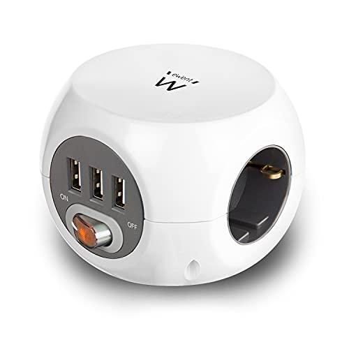 Ewent Steckdosenwürfel mit USB, Powercube 3 USB Stecker (2.4A) mit Schalter, 3 Fach Steckdose, Inkl. Klebepad für Küche, Büro, Wohnzimmer,, Kabellänge 1.5m, Farbe Weiß – EW3939