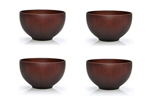 Ensemble de quatre: Bol de riz japonais traditionnel fabriqué à partir de bois de châtaignier - 12 cm - servir le riz, soupes, desserts et des collations avec un style asiatique (noir)
