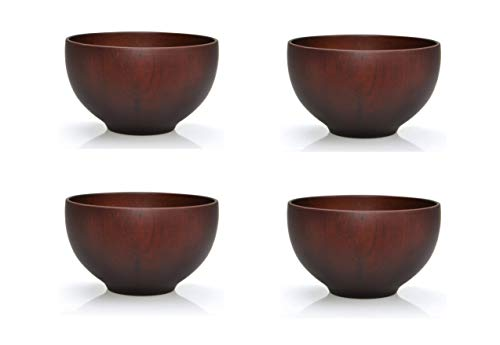 4er-Set: Japanische Suppenschalen bzw. Reisschalen aus Kastanienholz, 12 cm (Schwarzbraun)