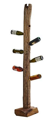 SAM Weinflaschenhalter Laval aus Teakholz, naturbelassen, Flaschenständer aus Massivholz, Weinhalter ca. 40 x 25 x 185 cm