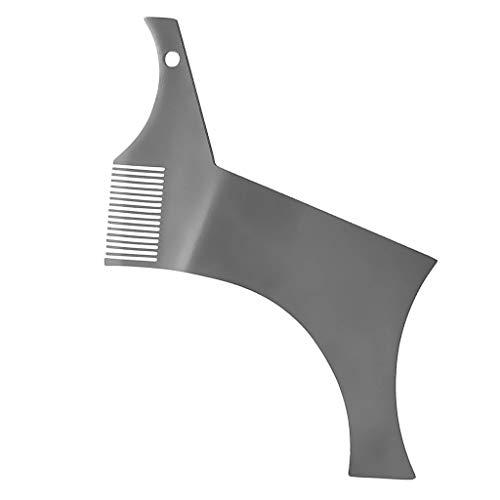Edelstahl Bartkamm Bart Schablone Bartformer für Koteletten, Schnurrbart, Spitzbart, Kinnbart Bartpflege