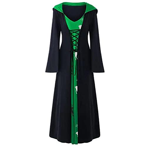 Vestido de mujer vintage, punk, fiesta, hasta la rodilla, estilo gótico medieval, rockabilly, swing, cosplay, vestido con capucha, elegante, tallas grandes, vestido de cóctel, Verde--01, S