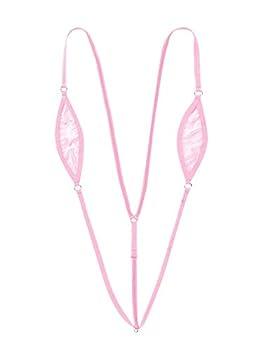 Hularka Womens One-Piece Mini Monokini Slingshot Swimsuit G-String Thong Bikini Lingerie Underwear Pink Medium