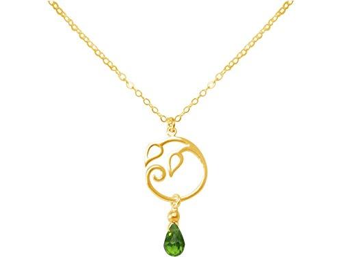 Gemshine - Collar - Colgante - Plata de Ley chapada en Oro de 18 quilates - Hojas de la Vid - Olivina - Lágrima - Gota - Verde - YOGA - 45 cm