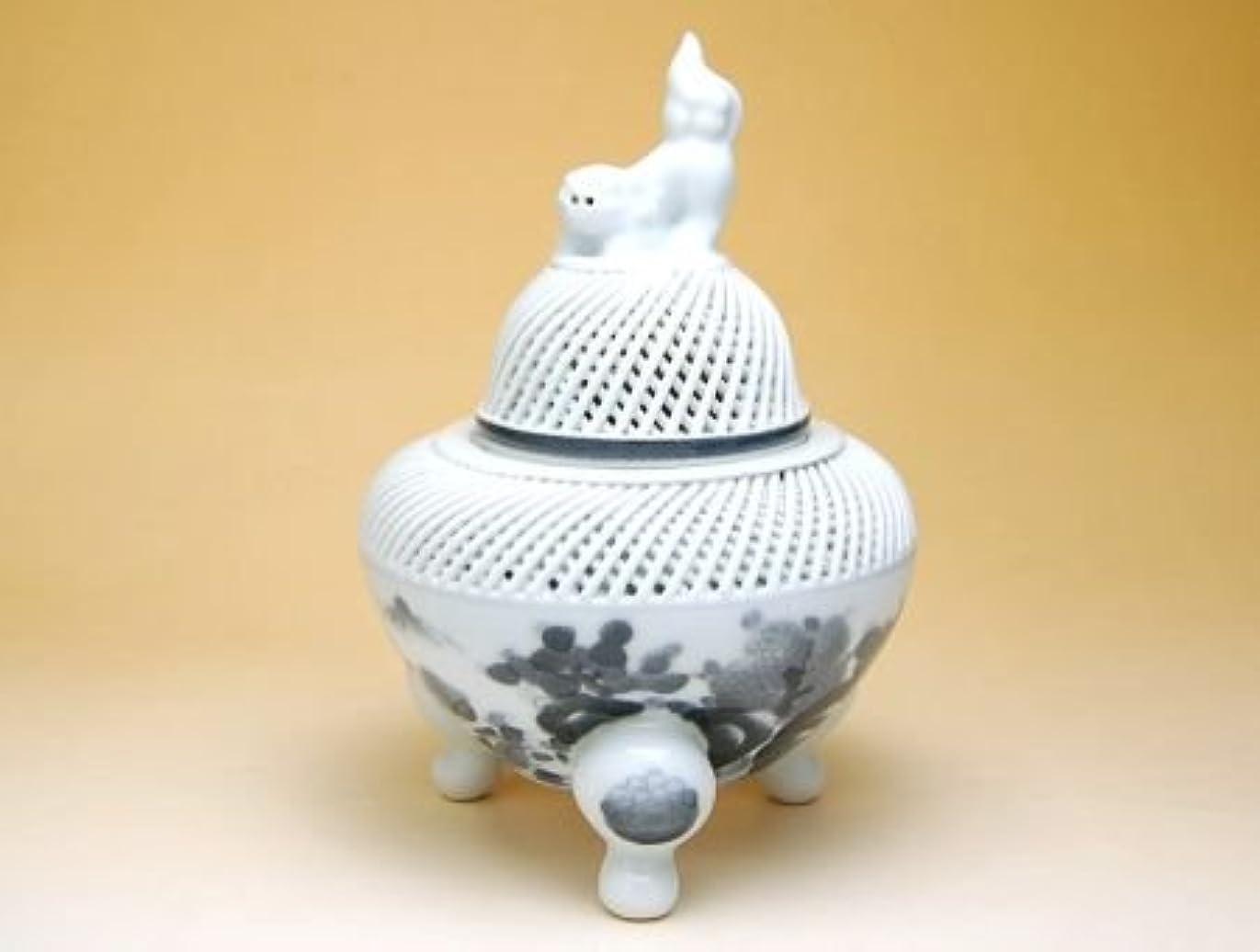 アメリカ彫るオークション有田焼 網目墨山水 (大)香炉【サイズ】径13.5cm×高さ20cm