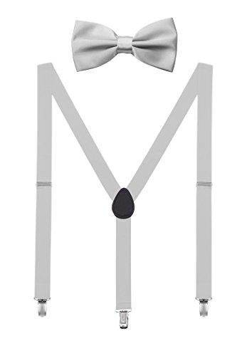 DEBAIJIA Conjunto Tirantes y Pajarita Para Hombre Mujer Elástica Y Forma Ajustable Unisex 2,5 cm Ancho Gris