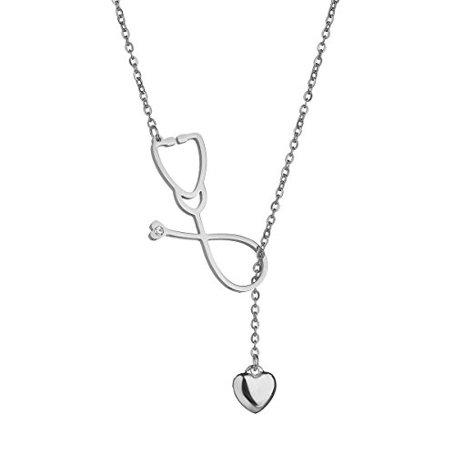 REEBOOOR Stethoscope Necklace Best Nurse Keyring Nurse Gift Heart Beat Bracelet Doctor Medical Student Gift Doctor Nurse Jewelry (Silver-Stethoscope Lariat)