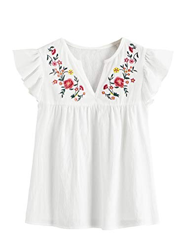 Floerns Women's V Neck Peasant Mexican Shirts Embroidered Floral Cotton Tops Blouses A-White M
