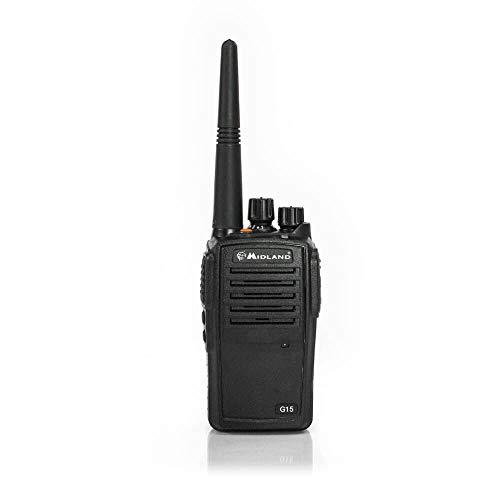 Midland G15 Robustes Funkgerät, Walkie Talkie in Alu-Gehäuse mit starkem Li-Ionen-Akku, wasserdicht und stoßfest, Frequenzbereich PMR446
