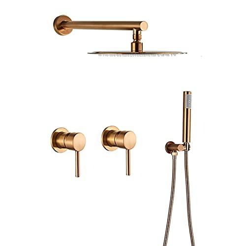 Juego de grifos de ducha en oro rosa cepillado, cabezal de ducha de lluvia redondo de 10'con ducha de mano, sistema de ducha, grifo mezclador de ducha de baño de dos manijas