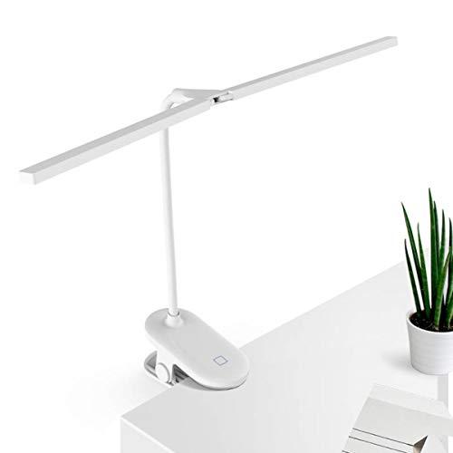 L-JUWA クリップライト led デスクライト 目に優しい 明るい 2021年新型ダブルランプ スタンドライト コードレス 卓上ライト おしゃれ ブックライト クリップ 読書灯 ベッド テーブルライト 3段階調色 無段階調光 電気スタンド USB充電式