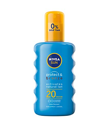 NIVEA SUN Protect & Bronze Sun Spray SPF20 (200 ml), Bronzing Tanning Lotion...