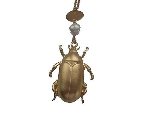 Kette Halskette Lange Kette mit Anhänger Käfer Glückskäfer Skarabäus Perle Gold Matt