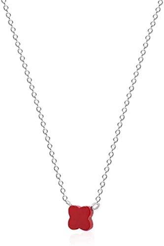 CKAWM Halskette Halsketten Rotklee Silber Farbe Anhänger Halskette Für Frauen Schmuck Beste Urlaub Oder Geburtstagsgeschenk Für Frauen Und Mädchen