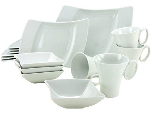 Creatable, 13935, Wing Blanc, Service de Table 16 piéces, Porcelain, Multicolor, 36 x 35 x 28 cm