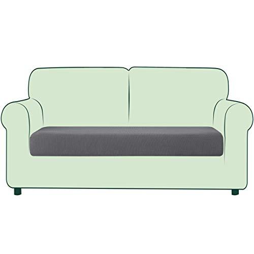 CHUN YI 1 Stück Sofa Sitzkissenbezug Stretch Sitzkissenschutz Elastischer Husse Überzug für Sofa Sitzkissen rutschfest Stoff Möbelschutz (Hellgrau, 2-Sitzer)