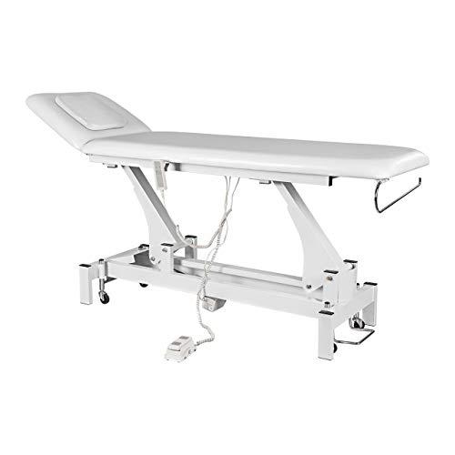 Physa RELAXO Massageliege Kosmetikliege Behandlungsliege (elektrisch, 44-90 cm, 2 Zonen, Gesichtsöffnung, inkl. Fernbedienung und Fußpedal) Weiß