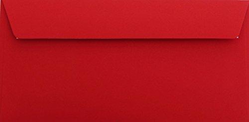 25 Din lang Briefumschläge Rosen Rot 11 x 22 cm mit Haftstreifen, Grammatur 120 g/m²