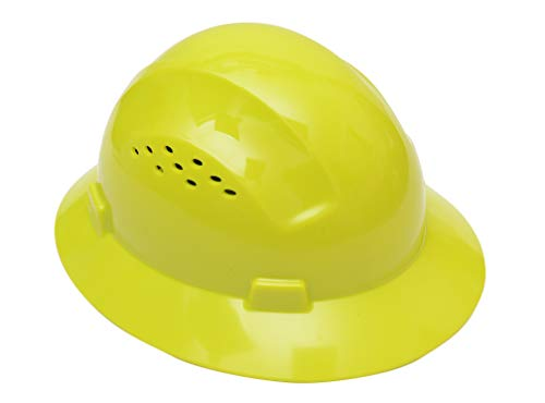 Cj safety full brim hard hat with fas-trac suspension - vented (lime green)