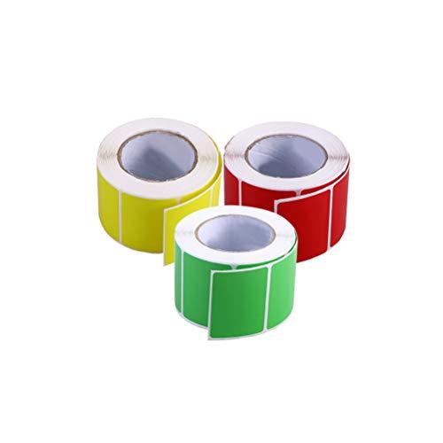 STOBOK 3 rollos de color puro etiquetas de transferencia térmica en blanco impresoras adhesivas de envío de papel (rojo, amarillo y verde cada rollo)