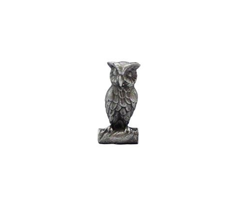 Zinngeschenke Eule klein aus Zinn von Hand patiniert, vollplastisch, Setzkastenfigur, Vitrinenfigur, Sammlerstück, Zinnfigur, Zinnfiguren Eulen deko (HxB) 3,2 x 1,2 cm