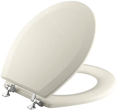 Triko Molded Round Closed-Front Toilet Seat with Polished Chrome Hinges
