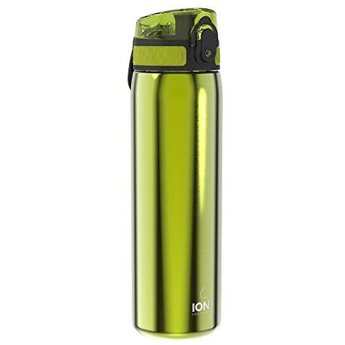 Ion8 Acero Inoxidable Botella Agua, Sin Fugas, Verde, 600ml