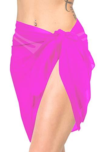 LA LEELA Bufanda para Cubrir la Cara Color sólido de la Gasa de la Playa Pura Nadar Pareo Pareo Abrigo Oscuro Rosa Rosa