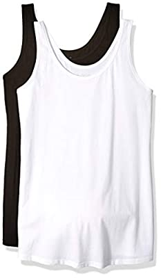 Motherhood Maternity Women's Maternity BumpStart 2 Pack Sleeveless Tank Tops, Black/White, Small